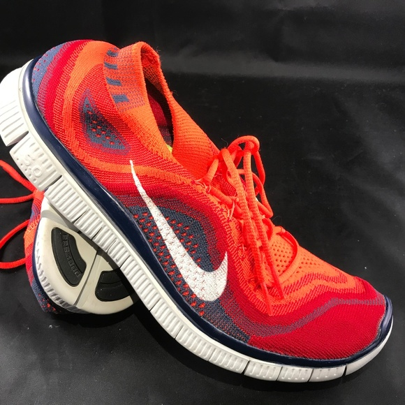 delicate colors best sell best sell NIKE FLYKNIT FREE 5.0 Red Rainbow Indigo Blue